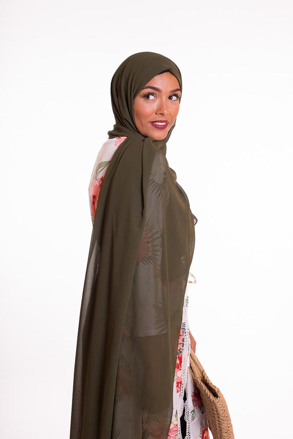 hijab xxl mousseline kaki
