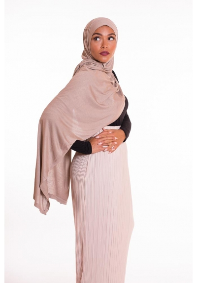 Hijab coton egyptien taupe clair