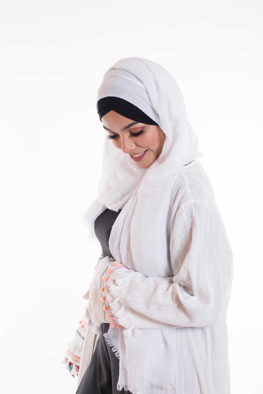 Hijab coton froissé paillette blanc