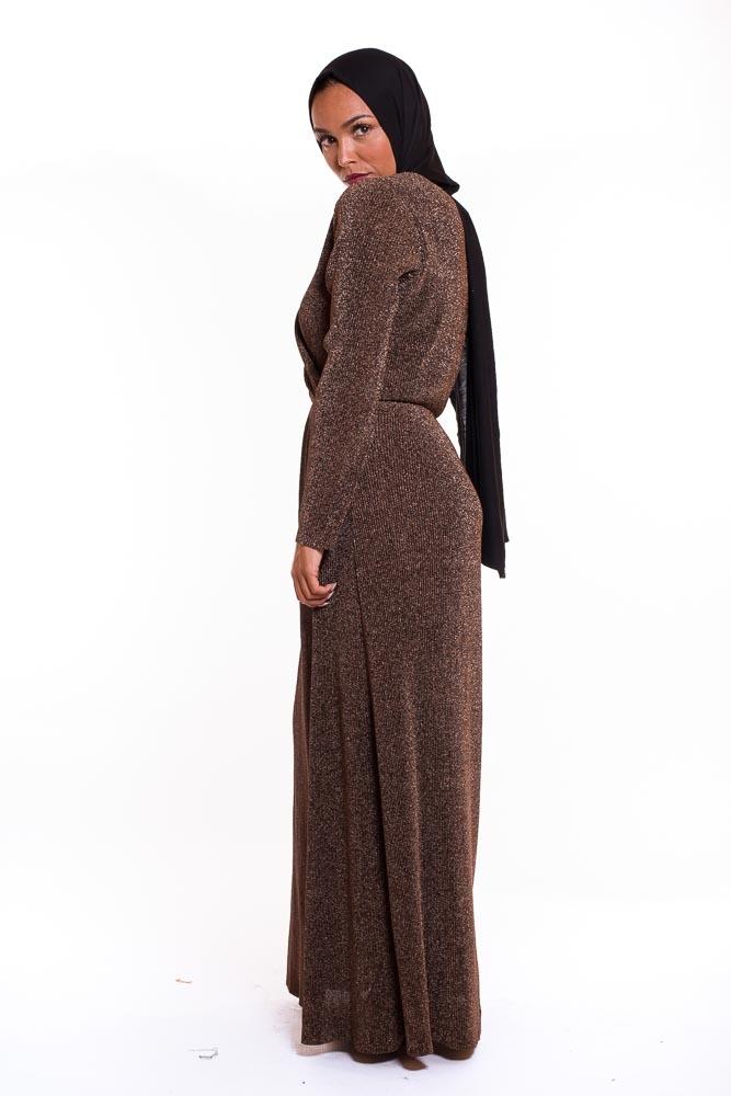 Robe plissé paillette ambré