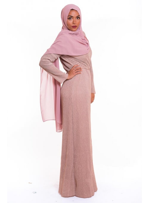 Robe plissé paillette rose poudré boutique hijab modeste fashion
