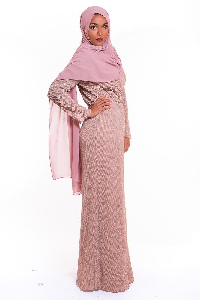 Robe plissé pailllette rose poudré
