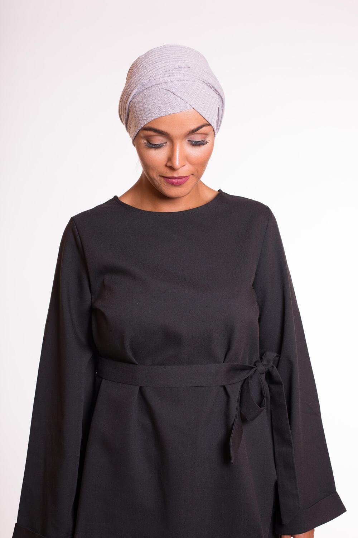 Turban croisé coton gris clair