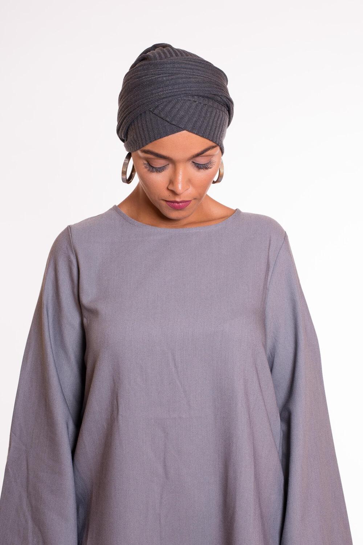 Turban croisé coton gris fonçé