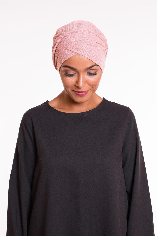 Turban croisé coton pink