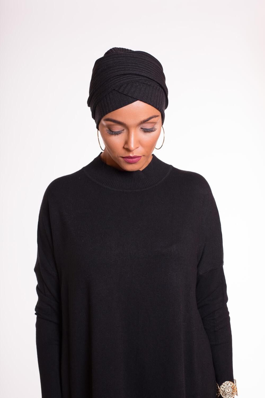 Turban croisé coton noir