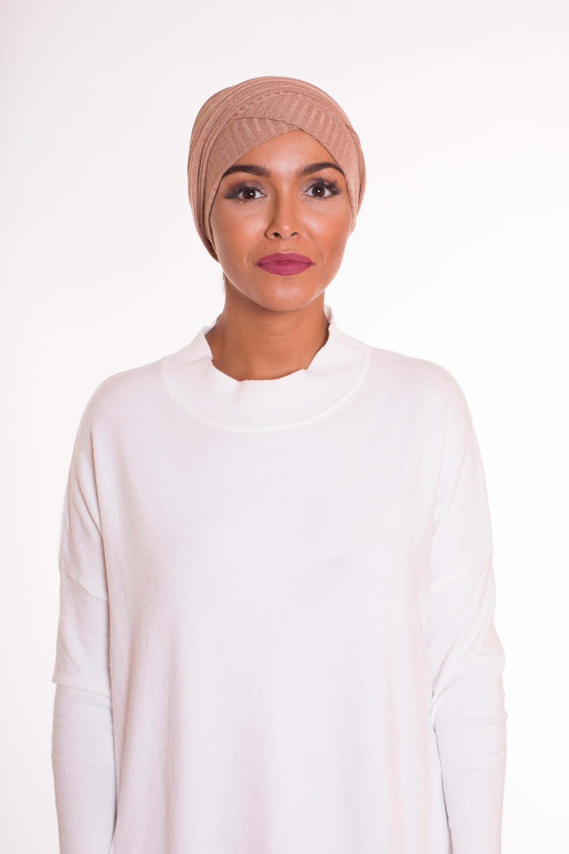 Turban croisé coton camel