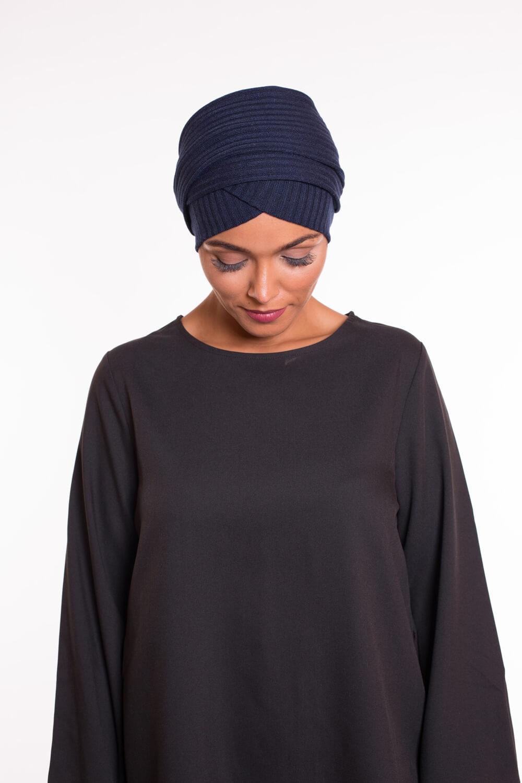 Turban croisé coton bleu