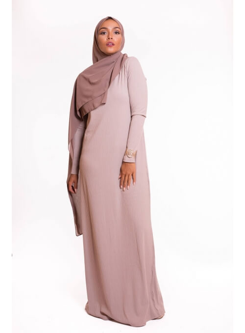 Robe pull beige pour femme musulmane boutique hijab