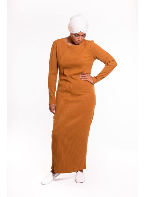 Robe pull moutarde boutique hijab femme musulmane