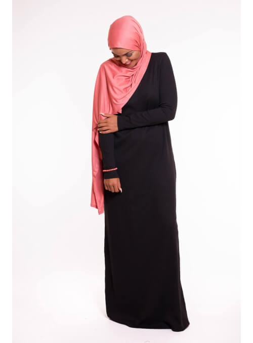 Robe pull noir automne hiver boutique hijab femme musulmane mode