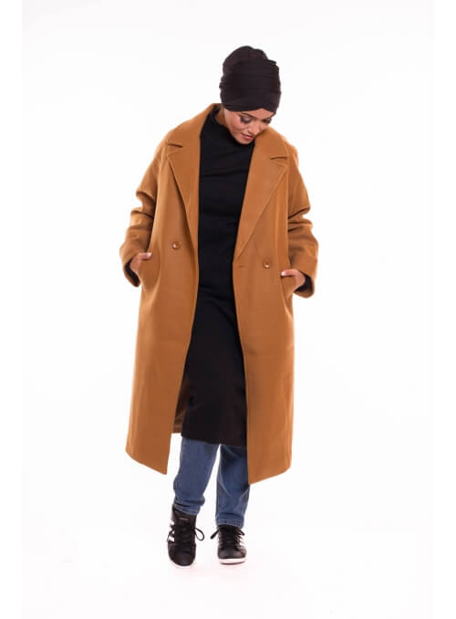 Manteau oversize camel long boutique hijab vêtement femme musulmane