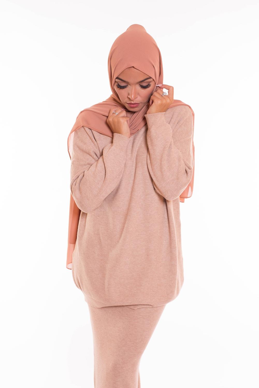hijab xxl mousseline nude peach