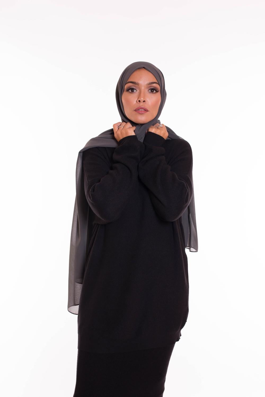 hijab xxl mousseline gris foncé