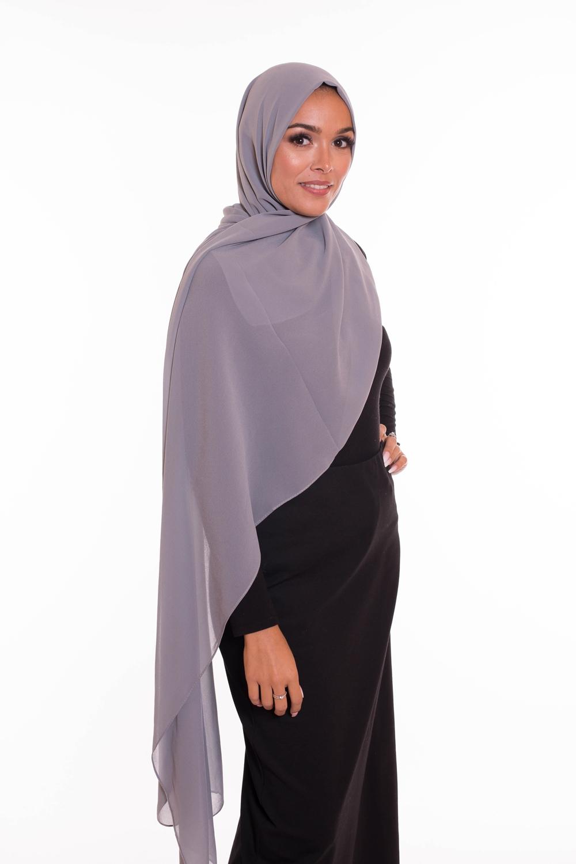 hijab xxl mousseline gris clair