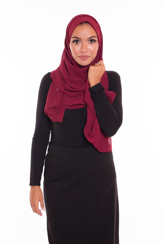 hijab xxl mousseline bordeaux