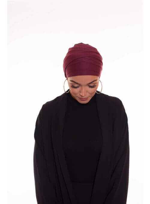 Turban multi croisé bordeau boutique hijab