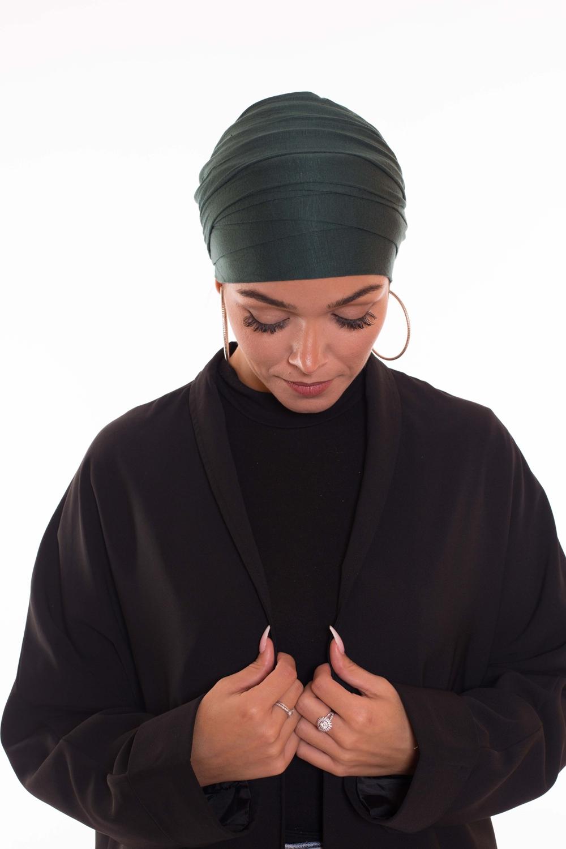 Turban multi croisé vert