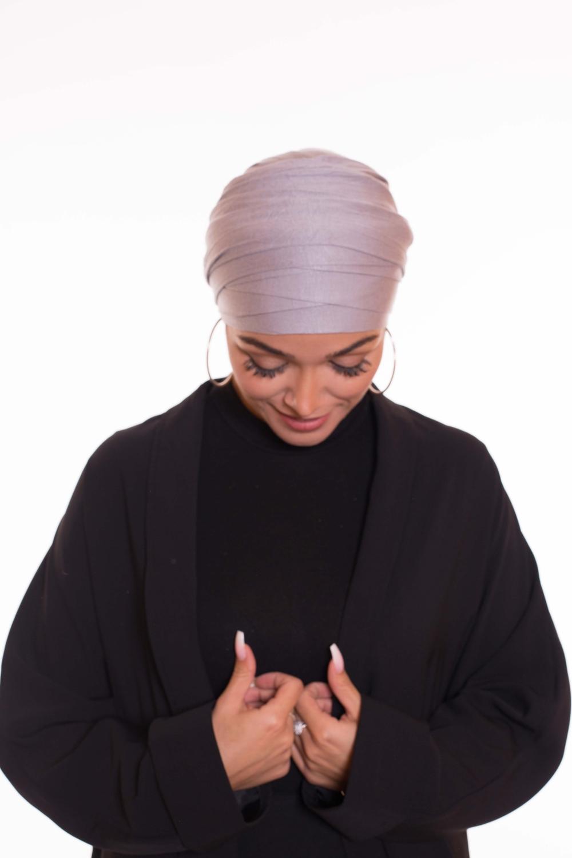 Turban multi croisé gris clair