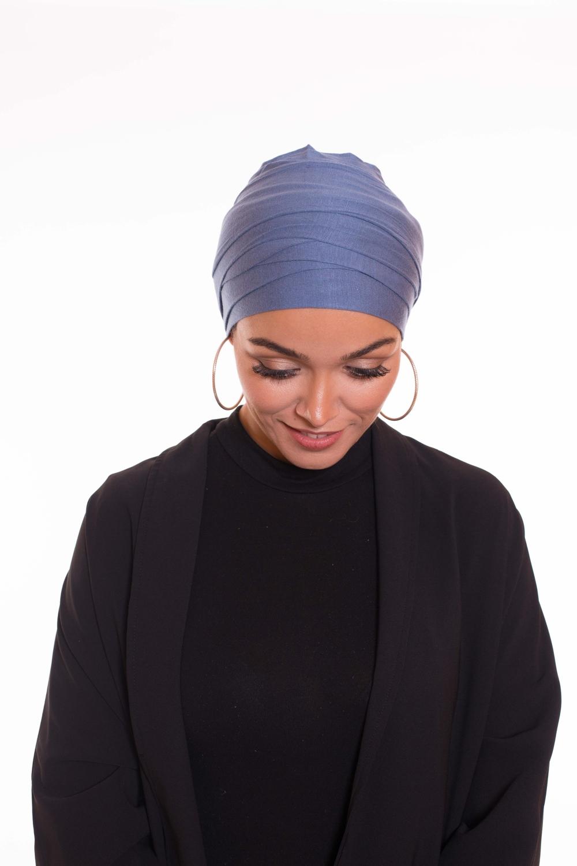 Turban multi croisé bleu azur