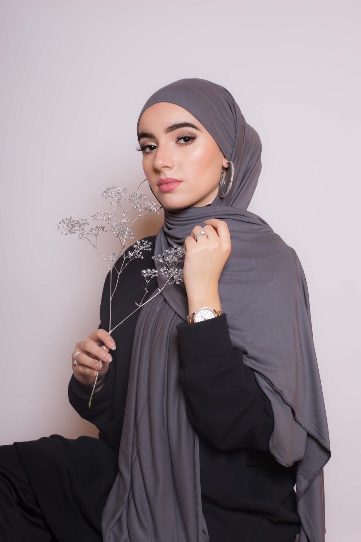 Maxi hijab jersey grey