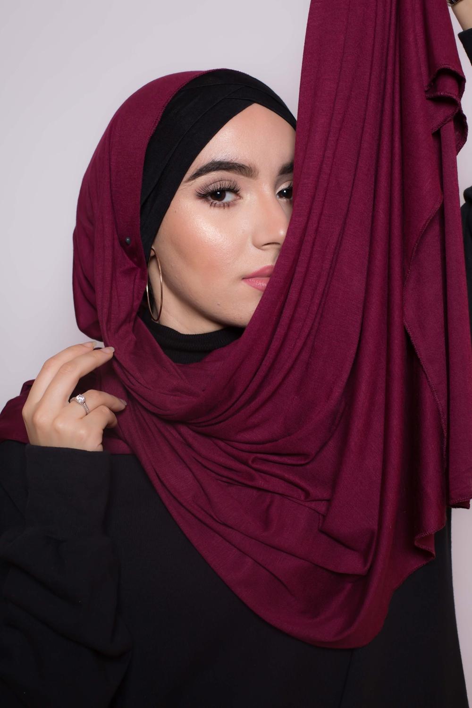 Maxi hijab jersey égyptien burgundy