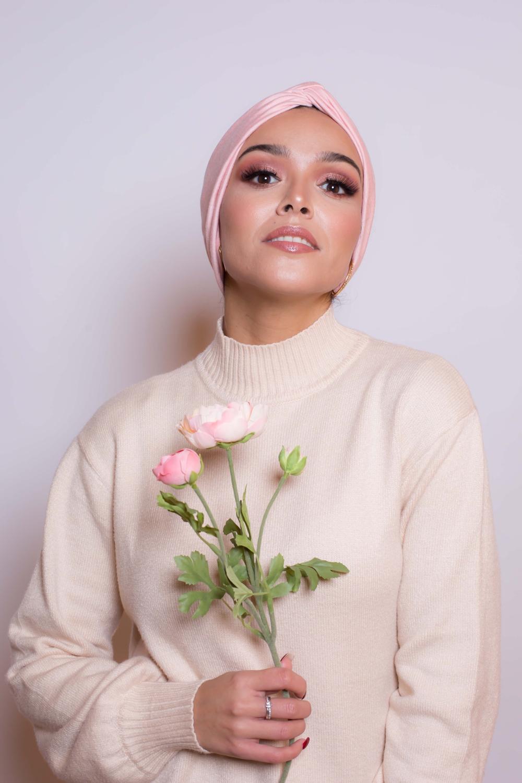 Bonnet turban rose