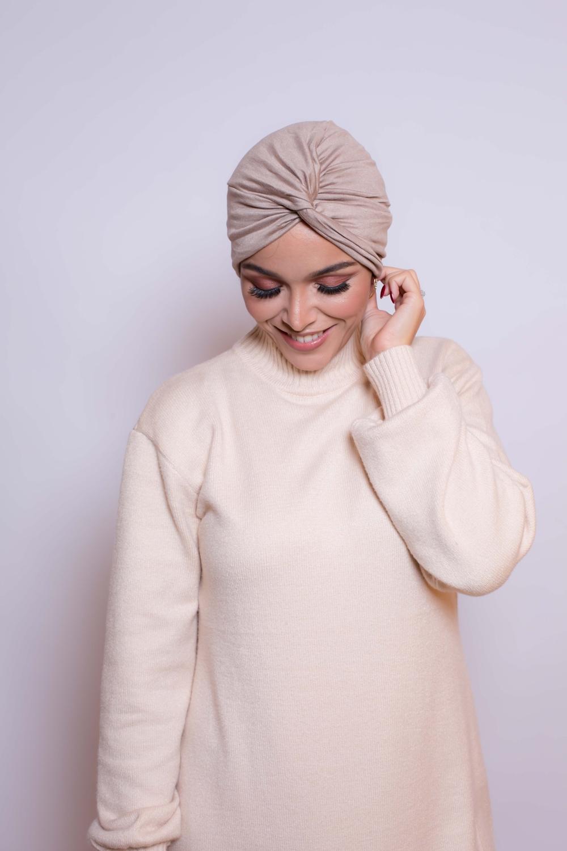 Bonnet turban beige foncé