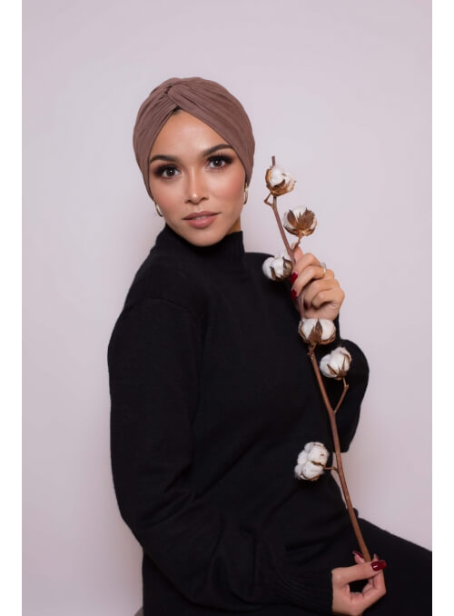 Bonnet turban taupe boutique hijab