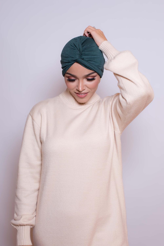 Bonnet turban vert