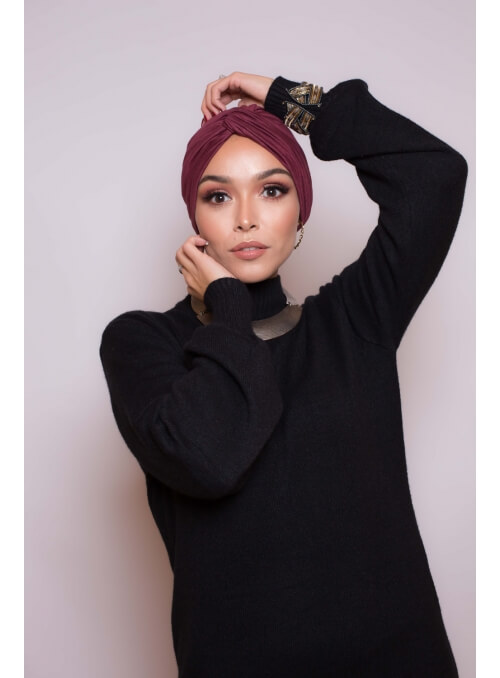 Bonnet turban bordeaux boutique hijab