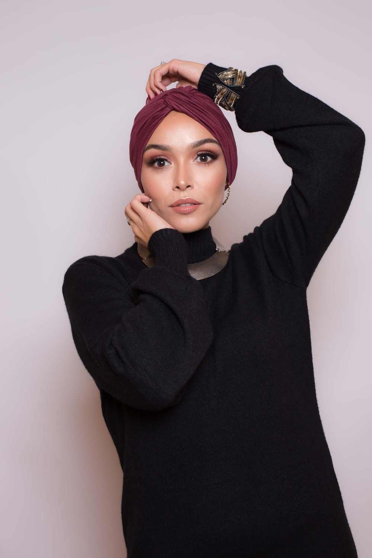 Bonnet turban bordeau