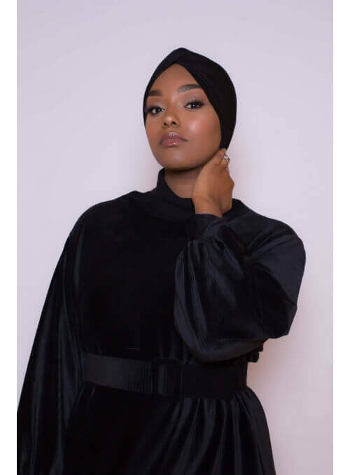 Bonnet turban noir boutique hijab