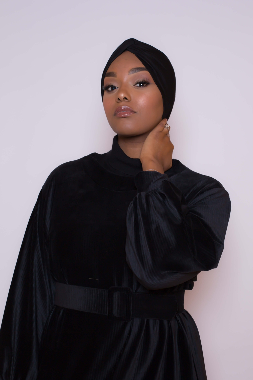 Bonnet turban noir