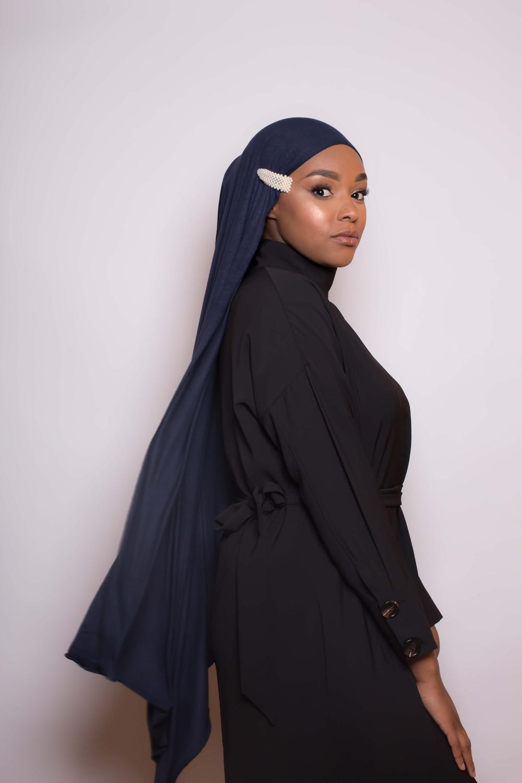 Barrette hijab perlée nacré