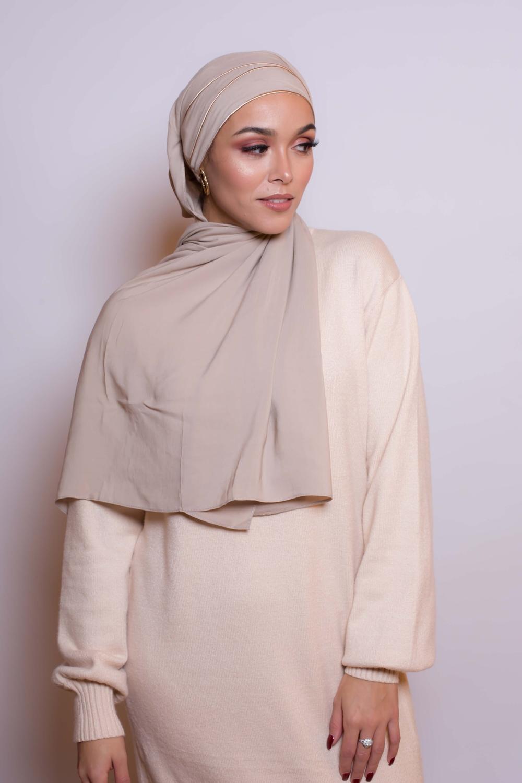 Hijab prêt à porter 4 saisons beige foncé