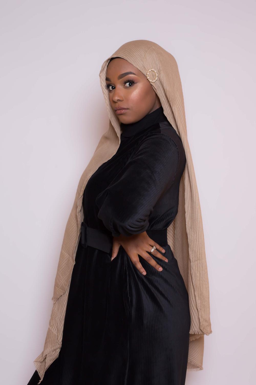 Hijab plissé beige foncé