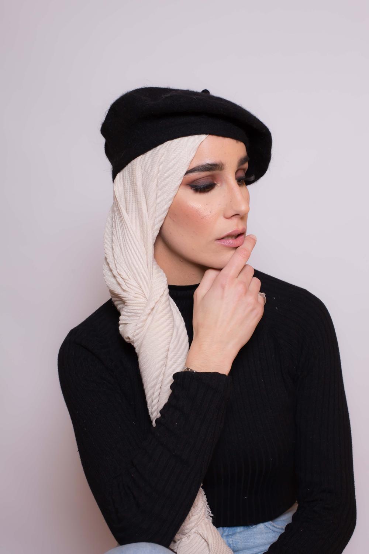 Hijab plissé beige