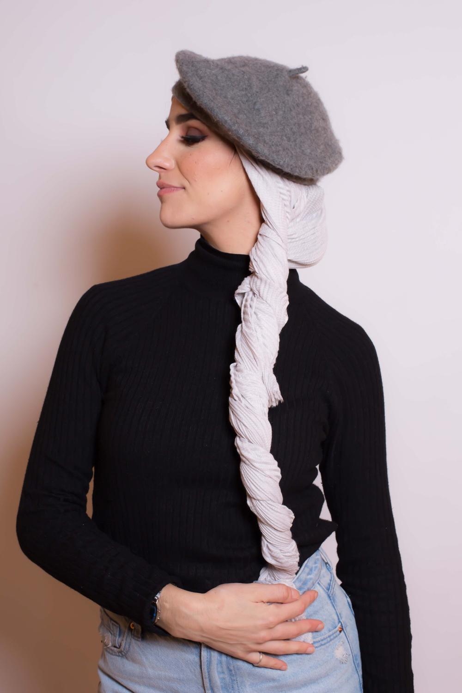 Hijab plissé gris