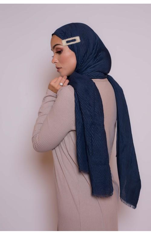Hijab plissé bleu boutique femme musulmane parisienne