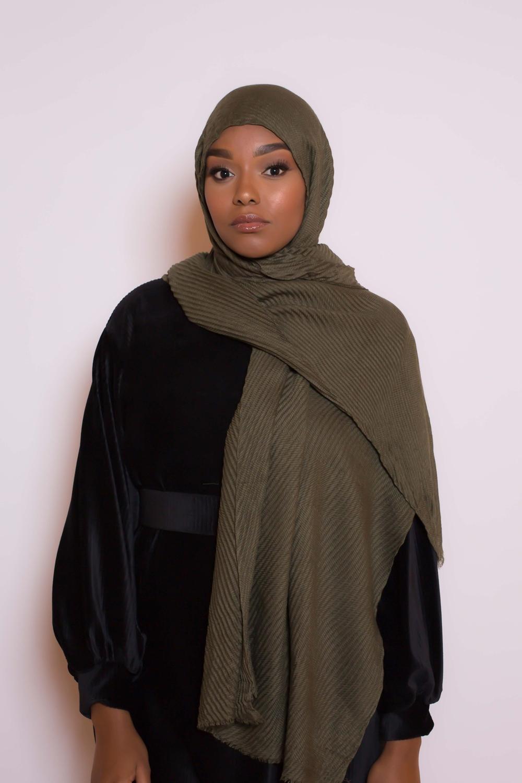 Hijab plissé kaki