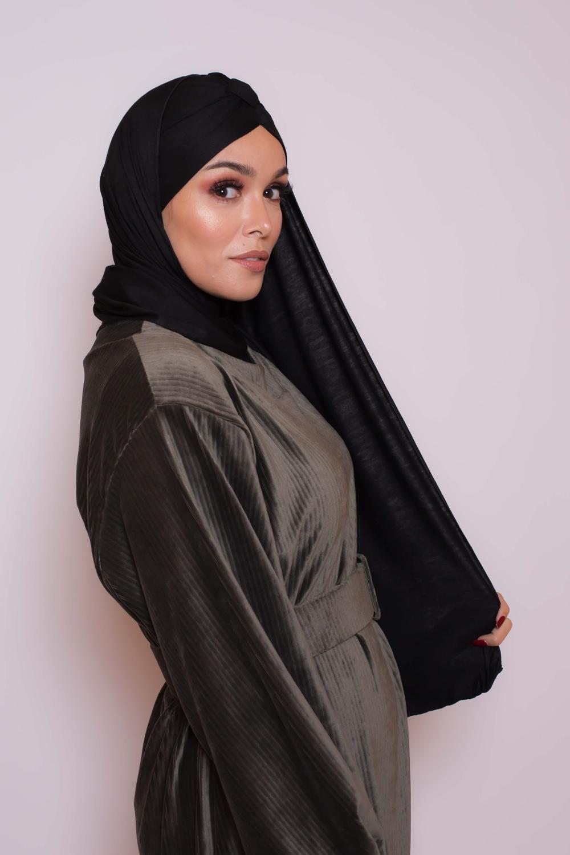 Hijab turban prêt à porter noir