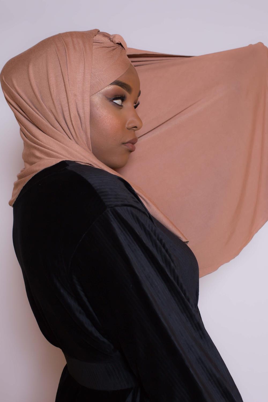 Hijab turban prêt à porter camel