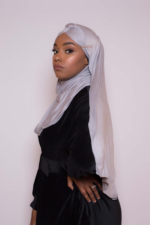 Hijab turban prêt à porter gris