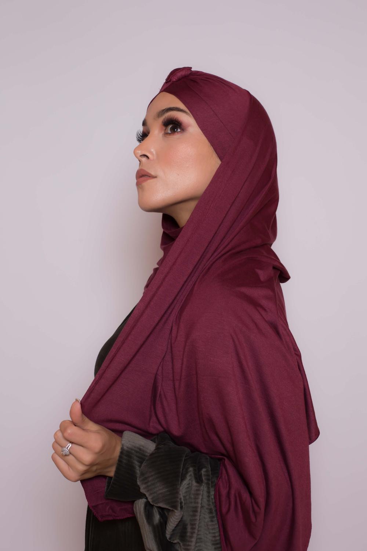 Hijab turban prêt à porter bordeaux