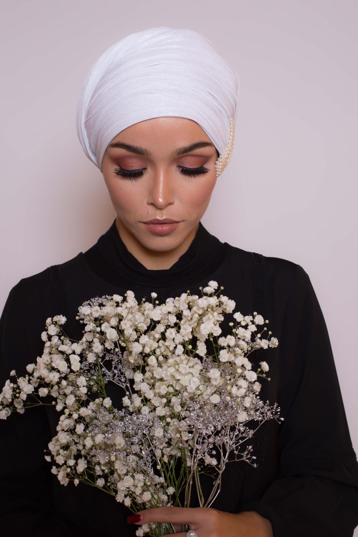 Hijab Lux orient blanc argenté