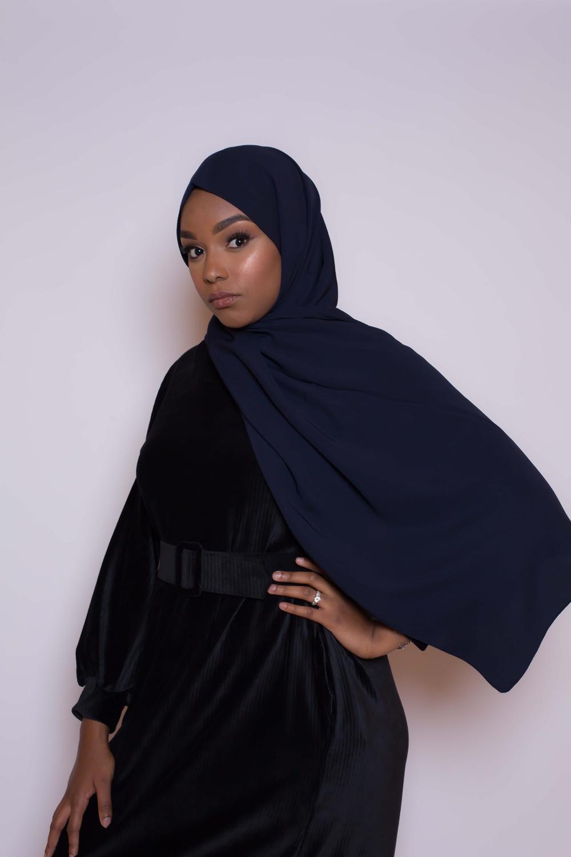 Hijab soie de médine bleu