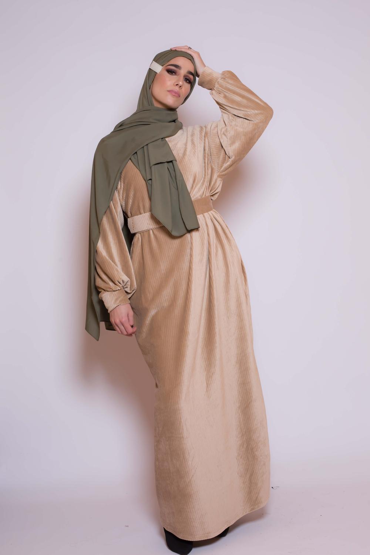 Robe velours beige