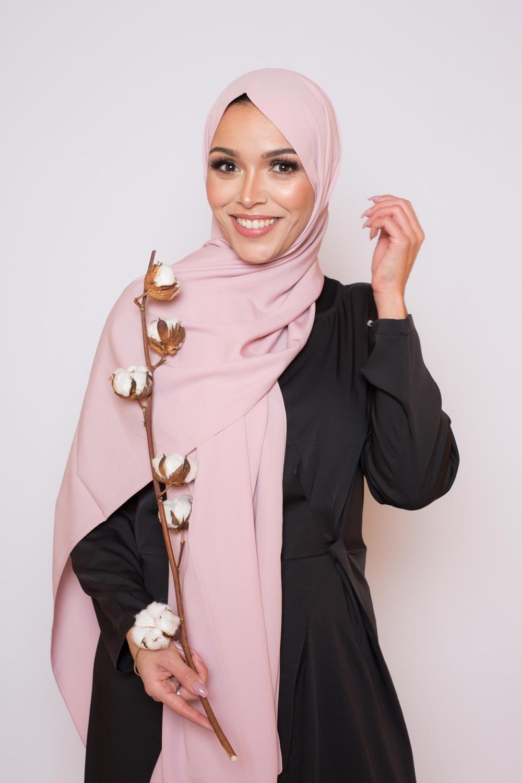 Hijab soie de médine rose poudré