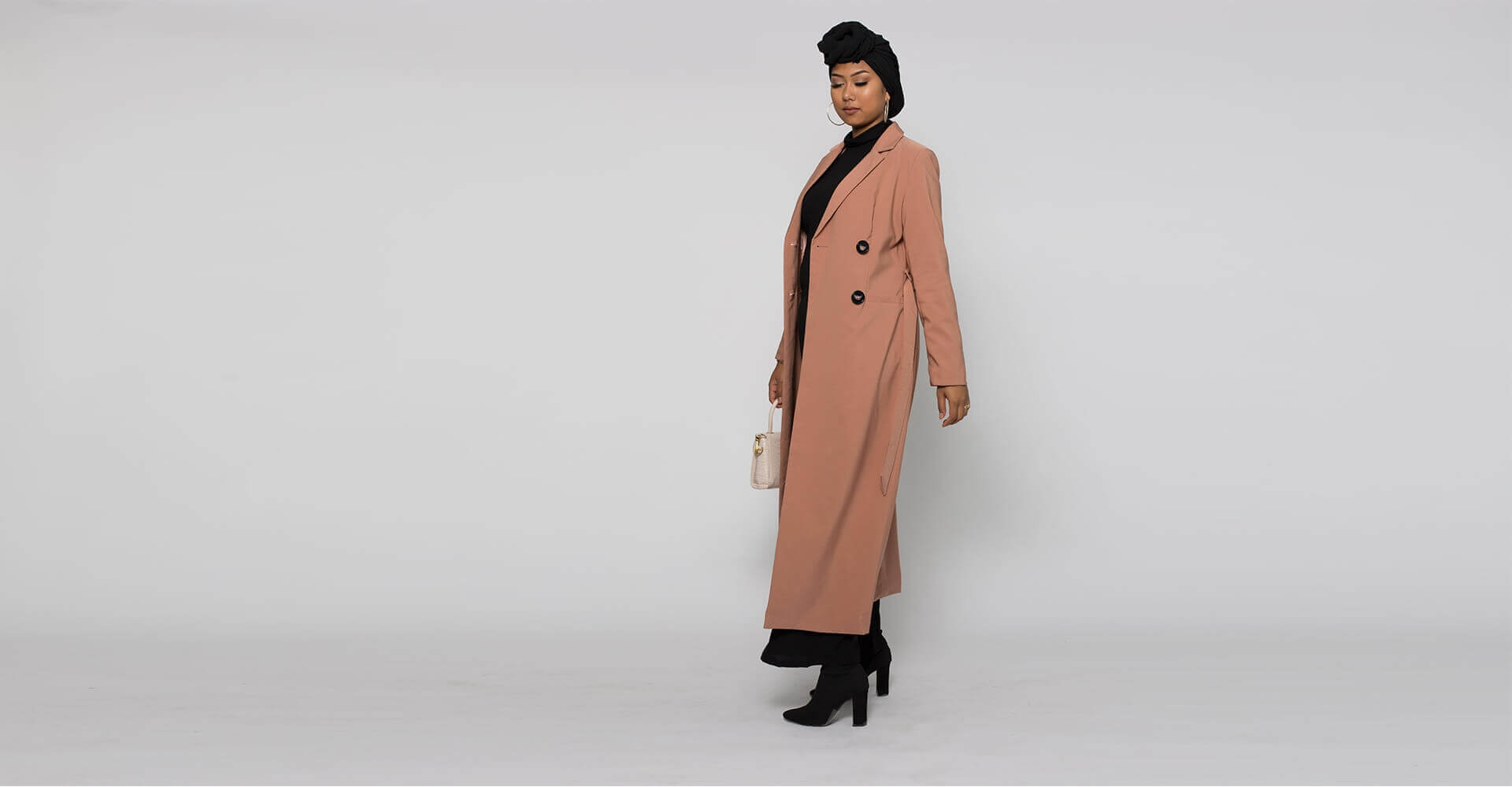 Trench long chic pour femme musulmane